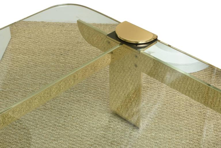 Italian Solid Brass and Glass Sculptural Cocktail Table 4
