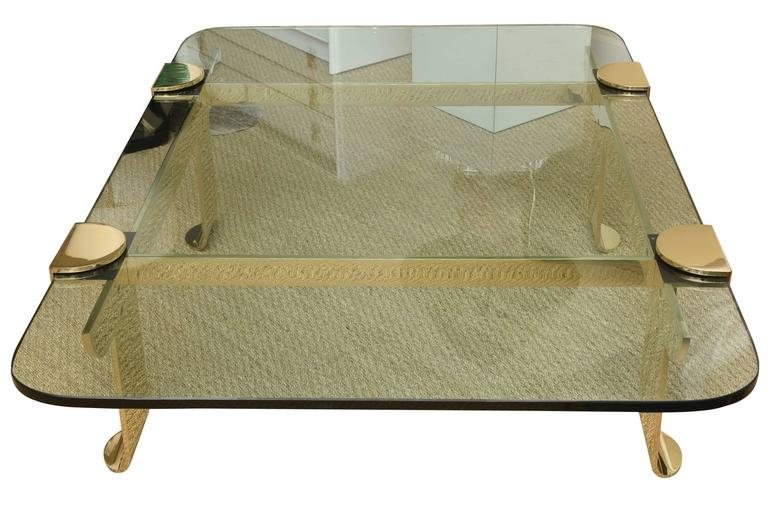 Italian Solid Brass and Glass Sculptural Cocktail Table 3