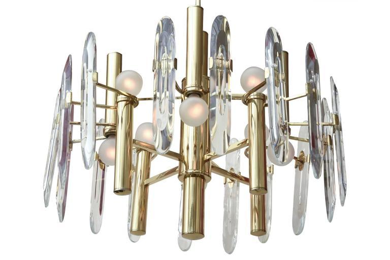 Italian Gaetano Sciolari Polished Brass and Crystal Prism Chandelier 2