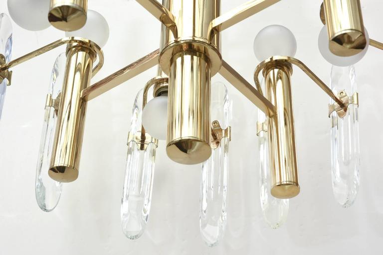 Italian Gaetano Sciolari Polished Brass and Crystal Prism Chandelier 5