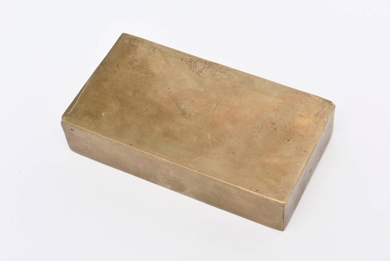 Signed Italian Arnaldo Pomodoro Bronze Sculptural Two-Part Box For Sale 3