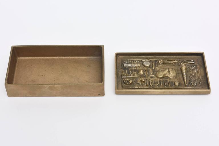 Late 20th Century Signed Italian Arnaldo Pomodoro Bronze Sculptural Two-Part Box For Sale