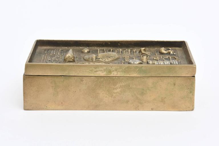 Signed Italian Arnaldo Pomodoro Bronze Sculptural Two-Part Box For Sale 1