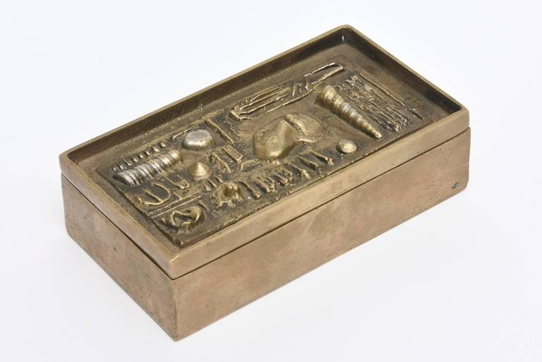 Modern Signed Italian Arnaldo Pomodoro Bronze Sculptural Two-Part Box For Sale