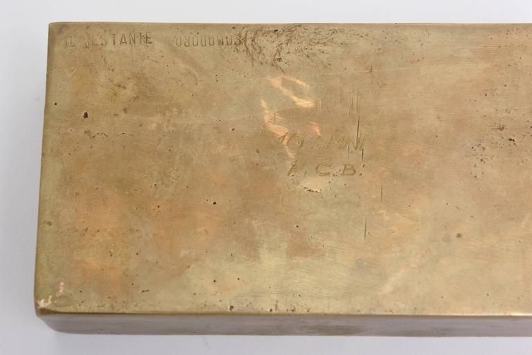 Signed Italian Arnaldo Pomodoro Bronze Sculptural Two-Part Box For Sale 4