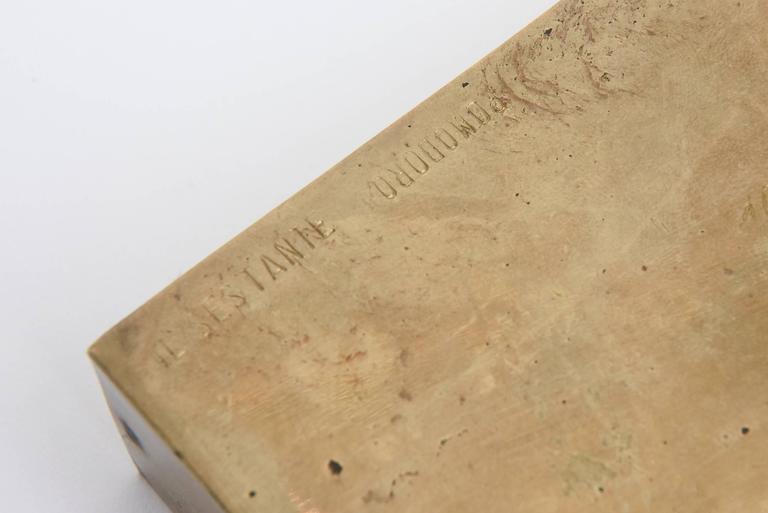 Signed Italian Arnaldo Pomodoro Bronze Sculptural Two-Part Box For Sale 5