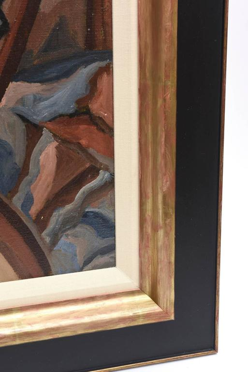 Suzanne Bertillon Art Deco Cubist Painting Custom Framed French Vintage 3