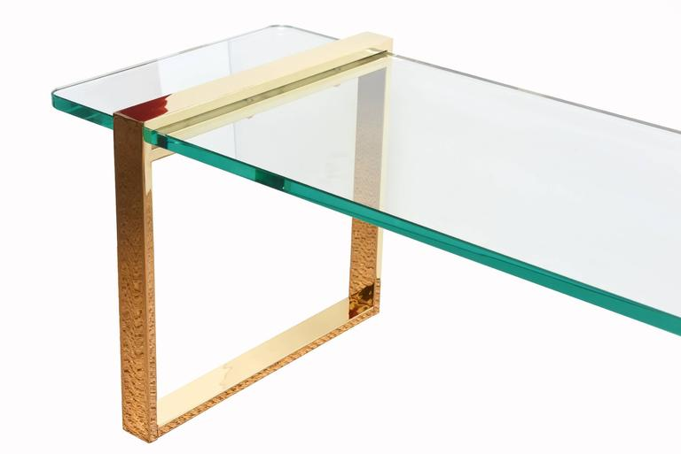 Modern Leon Rosen for Pace Gold-Plated and Glass Sculptural Cocktail or Library Table For Sale