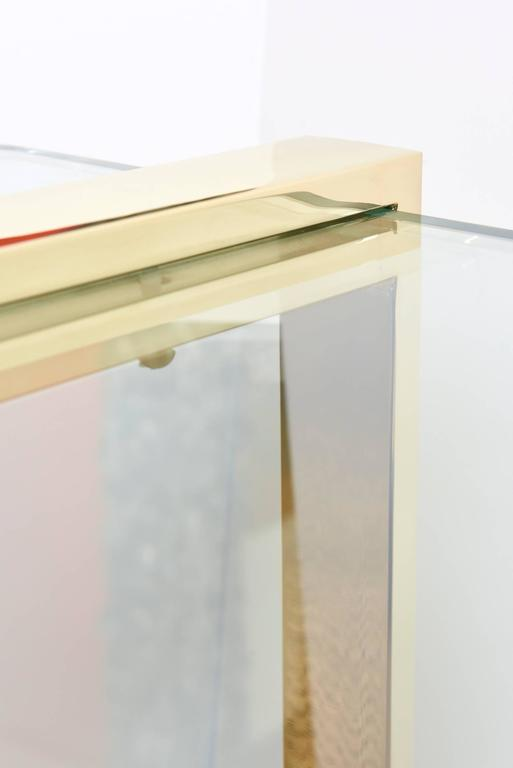 Leon Rosen for Pace Gold-Plated and Glass Sculptural Cocktail or Library Table For Sale 2