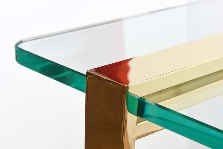Leon Rosen for Pace Gold-Plated and Glass Sculptural Cocktail or Library Table For Sale 1