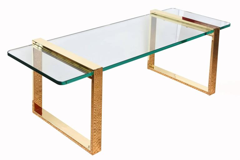 Leon Rosen for Pace Gold-Plated and Glass Sculptural Cocktail or Library Table In Good Condition For Sale In North Miami, FL