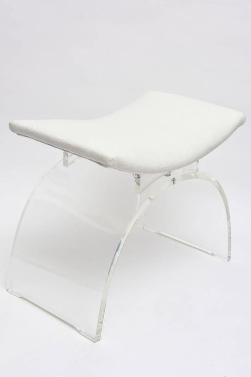 Sculptural Arched Vintage Lucite And Upholstered Vanity Stool Or