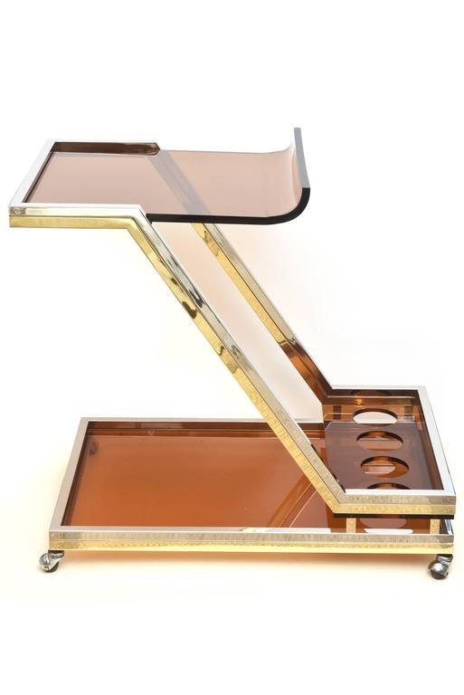Italian Romeo Rega Chrome/Brass and Lucite Sculptural Bar Cart/Trolley 2