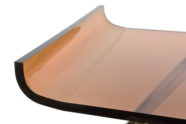 Italian Romeo Rega Chrome/Brass and Lucite Sculptural Bar Cart/Trolley 4