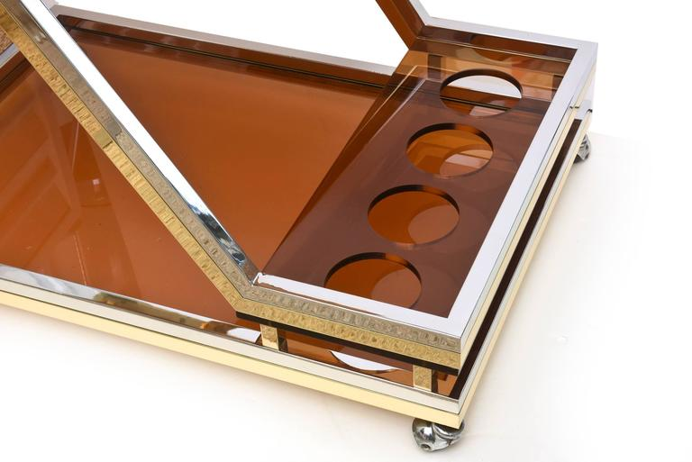 Italian Romeo Rega Chrome/Brass and Lucite Sculptural Bar Cart/Trolley 5