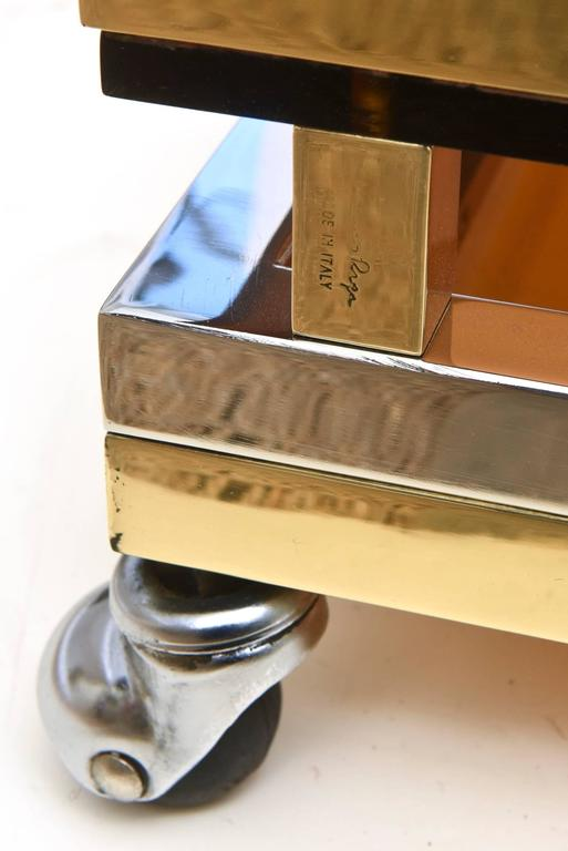Italian Romeo Rega Chrome/Brass and Lucite Sculptural Bar Cart/Trolley 8