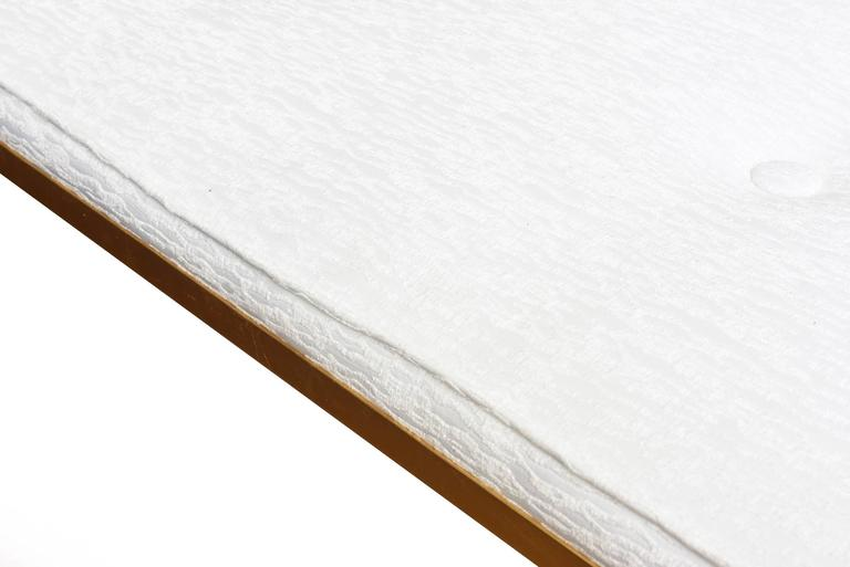 Upholstery Tommi Parzinger Gold Leaf Upholstered Bench Mid-Century Modern For Sale