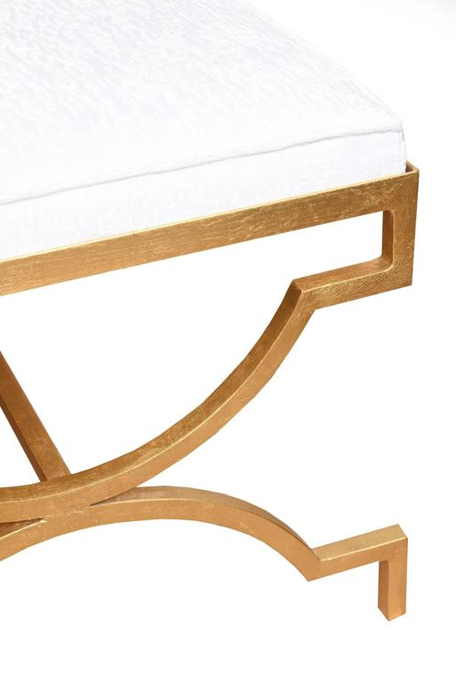 Tommi Parzinger Gold Leaf Upholstered Bench Mid-Century Modern In Good Condition For Sale In North Miami, FL