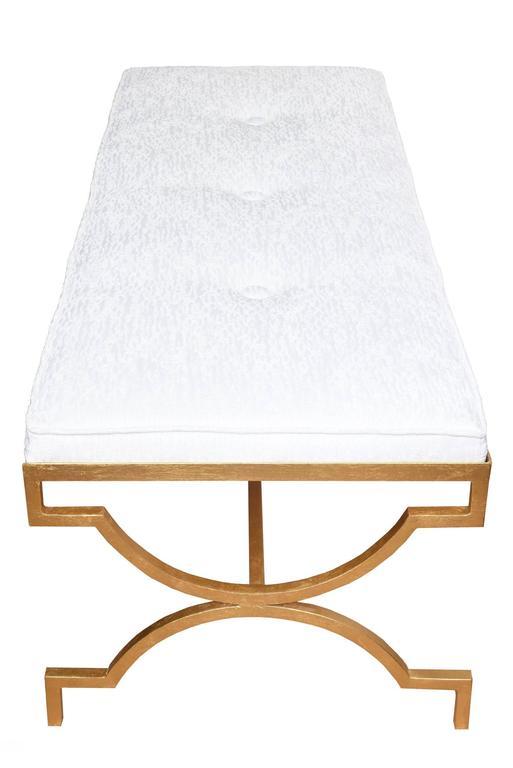 American Tommi Parzinger Gold Leaf Upholstered Bench Mid-Century Modern For Sale