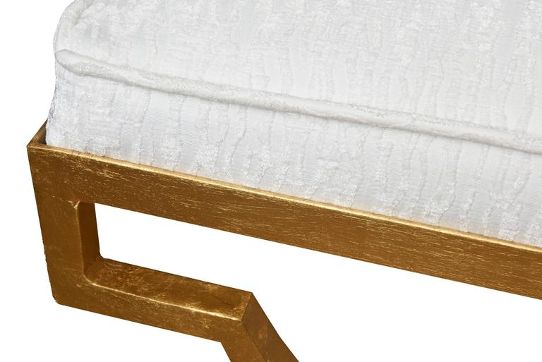 Mid-20th Century Tommi Parzinger Gold Leaf Upholstered Bench Mid-Century Modern For Sale