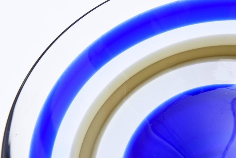 Signed Orrefors Vintage Banded Striped Crystal Glass Bowl For Sale 2
