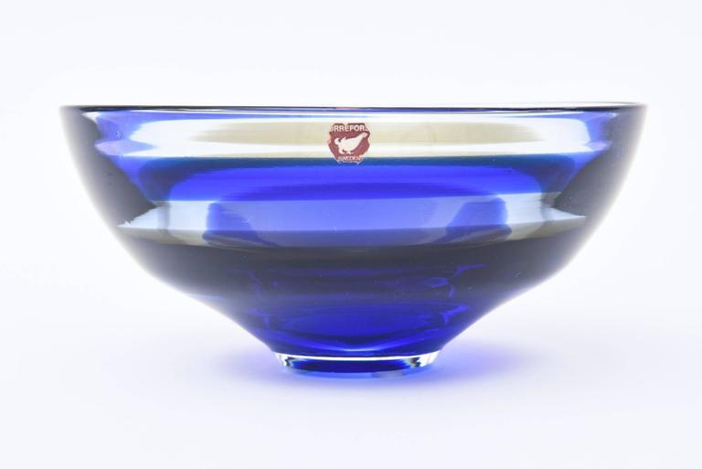Swedish Signed Orrefors Vintage Banded Striped Crystal Glass Bowl For Sale