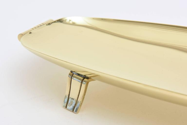 Tommi Parzinger Mid-Century Modern Polished Brass Footed Rectangular Bowl 5