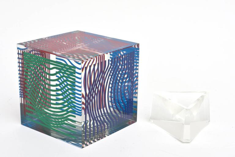 Victor Vasarely Op Art Acrylic Cube Sculpture Vintage For Sale 1