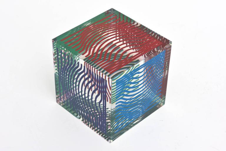 Victor Vasarely Op Art Acrylic Cube Sculpture Vintage For Sale 2