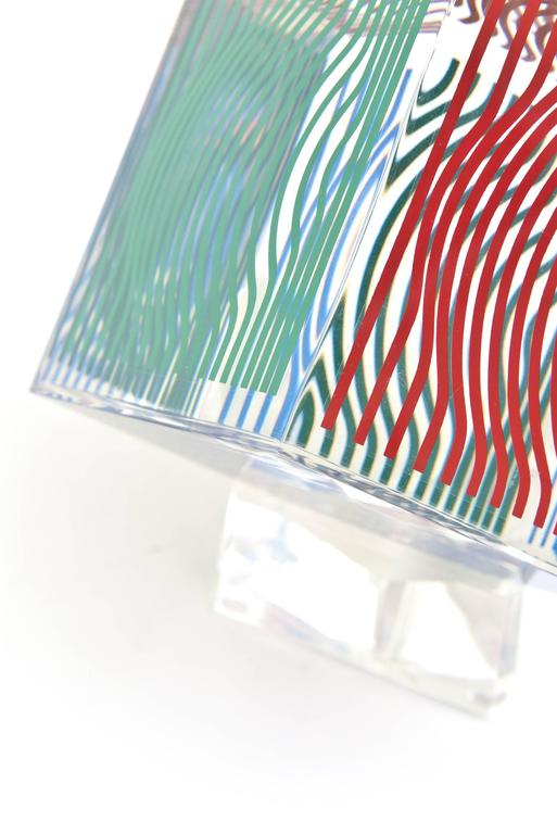 Late 20th Century Victor Vasarely Op Art Acrylic Cube Sculpture Vintage For Sale