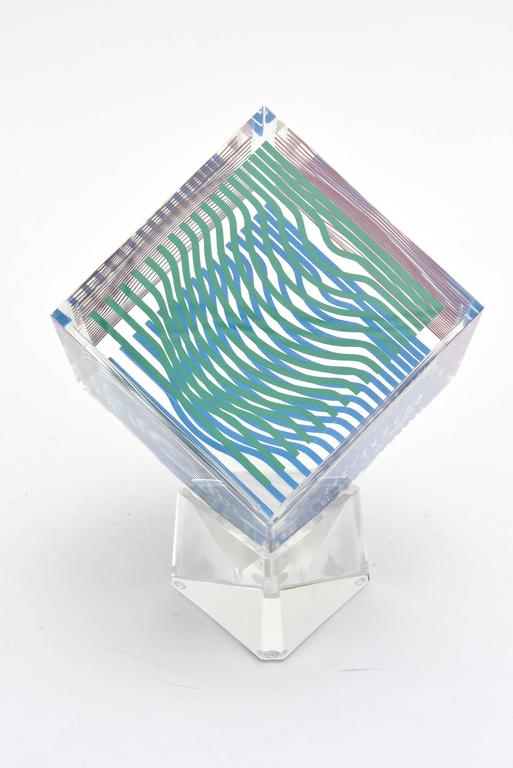 Victor Vasarely Op Art Acrylic Cube Sculpture Vintage In Good Condition For Sale In North Miami, FL