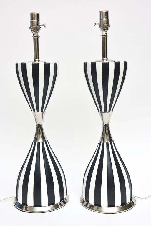 Pair of Mid-Century Sculptural Ceramic and Nickel Silver Lamps  2