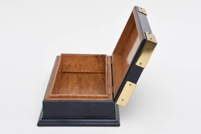 Late 20th Century Gucci Lacquered and Brass Hinged Box Vintage For Sale