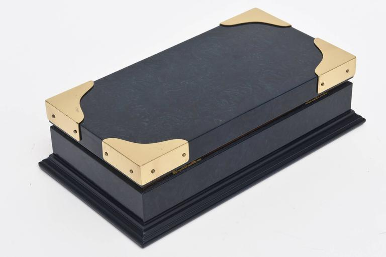 Gucci Lacquered and Brass Hinged Box Vintage For Sale 1