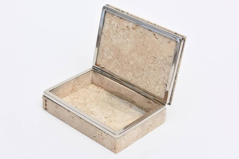 Vintage Italian Travertine Stone and Nickel Silver Hinged Box In Good Condition For Sale In North Miami, FL