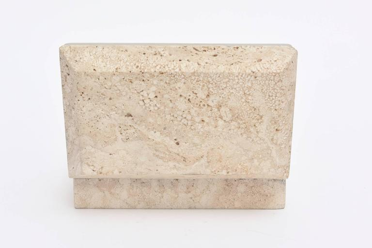 Vintage Italian Travertine Stone and Nickel Silver Hinged Box For Sale 1
