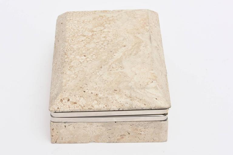 Organic Modern Vintage Italian Travertine Stone and Nickel Silver Hinged Box For Sale