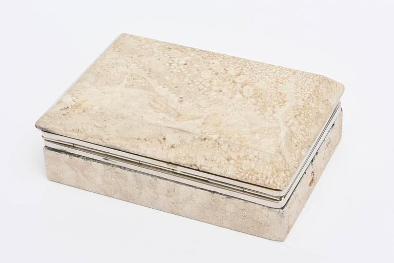Vintage Italian Travertine Stone and Nickel Silver Hinged Box For Sale 2