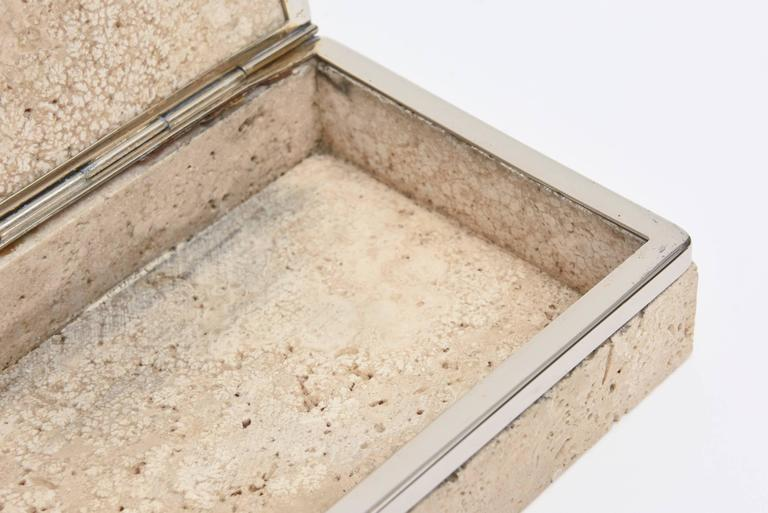 Late 20th Century Vintage Italian Travertine Stone and Nickel Silver Hinged Box For Sale