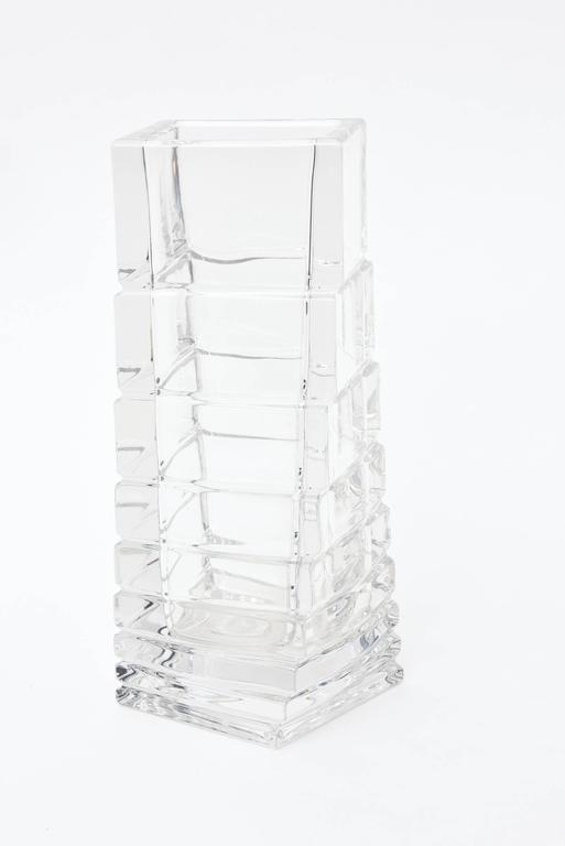 Rosenthal Mid Century Twisted Glass Sculptural Column Vase For Sale