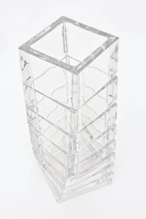 German Rosenthal Mid-Century Modern Twisted Glass Sculptural Vase Vintage For Sale