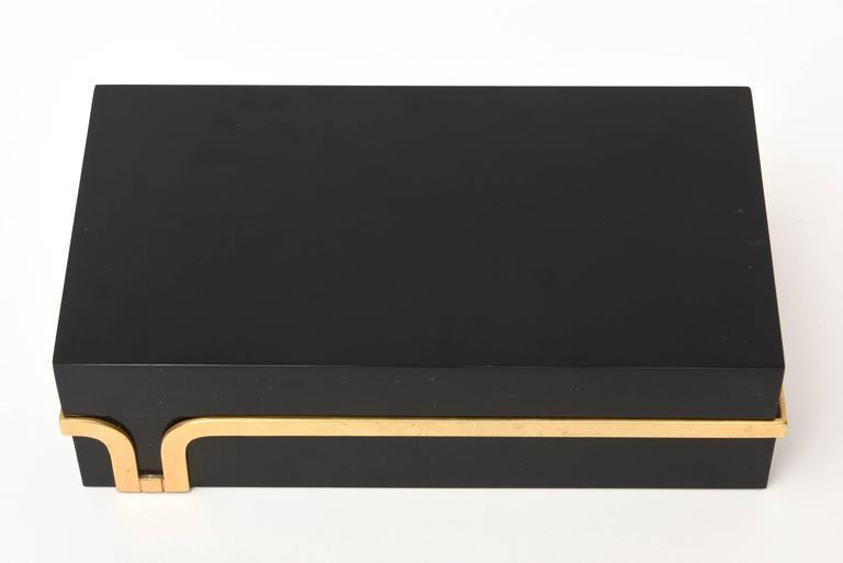 Black Lucite and Brass Two-Part Modernist Box For Sale 3