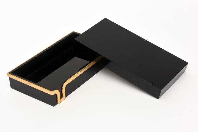 Black Lucite and Brass Two-Part Modernist Box In Excellent Condition For Sale In North Miami, FL