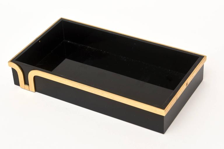 Late 20th Century Black Lucite and Brass Two-Part Modernist Box For Sale