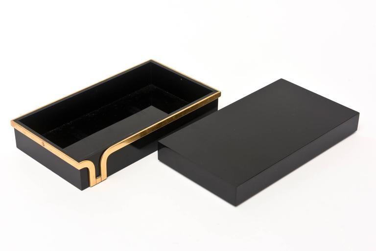 American Black Lucite and Brass Two-Part Modernist Box For Sale