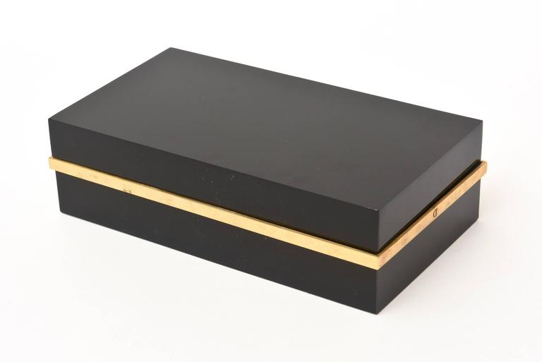 Black Lucite and Brass Two-Part Modernist Box For Sale 5