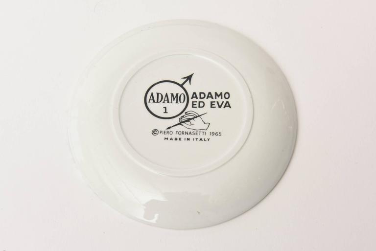 "Set of Eight Mid-Century Piero Fornasetti Porcelain Coasters ""Adam""/ Bareware 3"