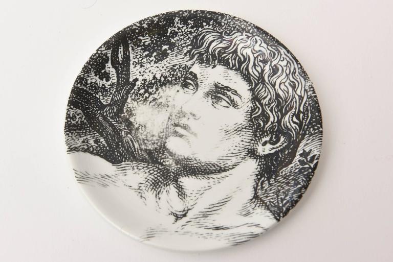 "Set of Eight Mid-Century Piero Fornasetti Porcelain Coasters ""Adam""/ Bareware 4"