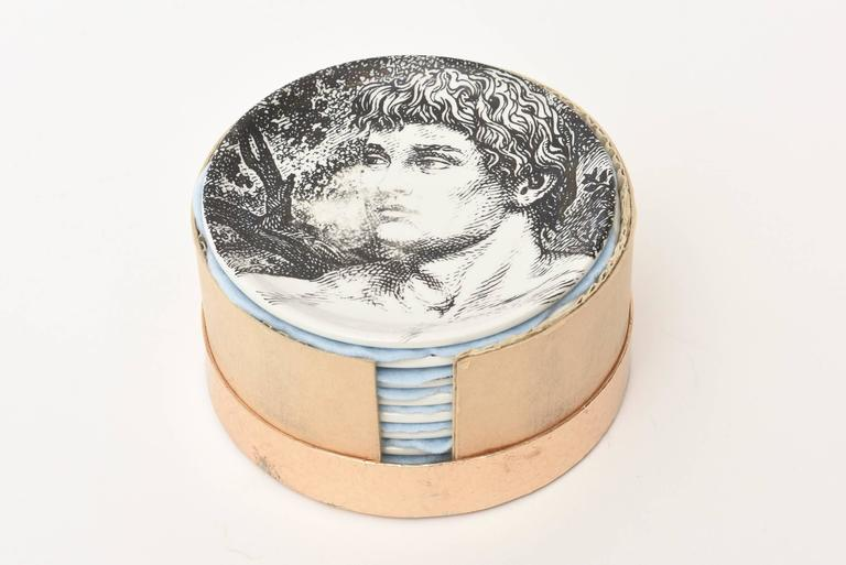 "Set of Eight Mid-Century Piero Fornasetti Porcelain Coasters ""Adam""/ Bareware 8"