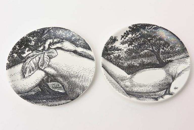 "Set of Eight Mid-Century Piero Fornasetti Porcelain Coasters ""Adam""/ Bareware 5"